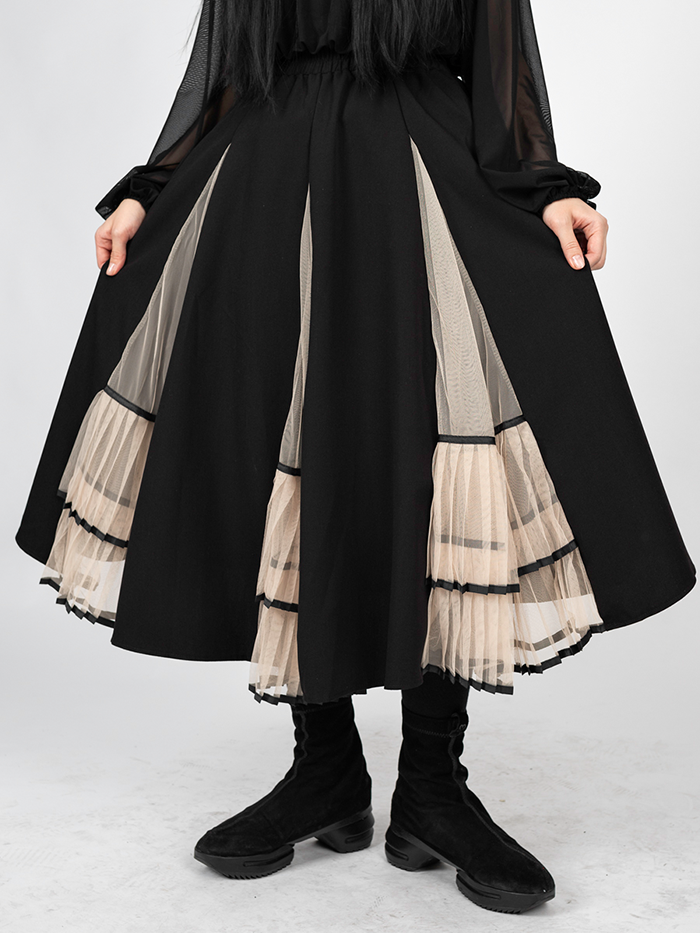 Mesh cutting pleated Skirt