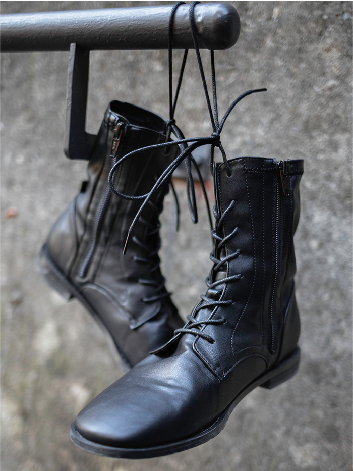 Span chic lace-up Boots