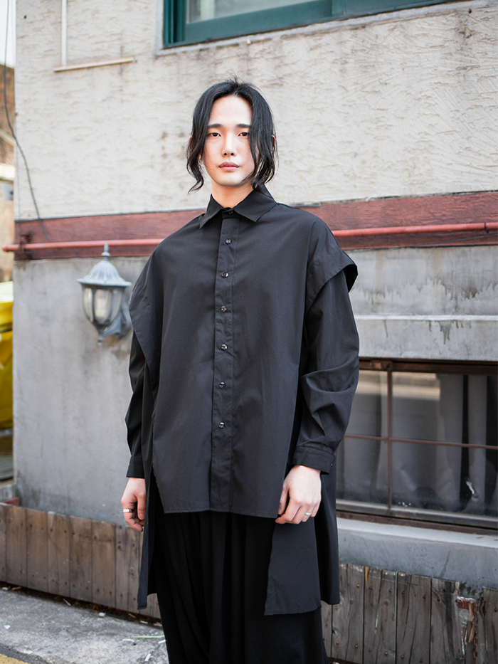 [UNISEX] Avant-garde cutting open Shirt
