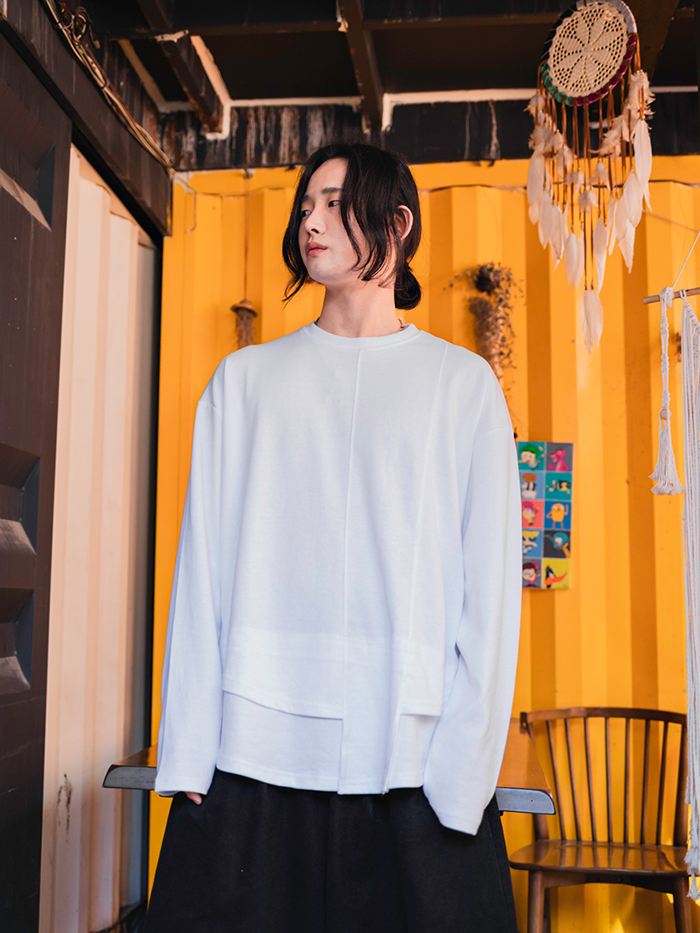 [UNISEX] Cutting unbalance T-shirt