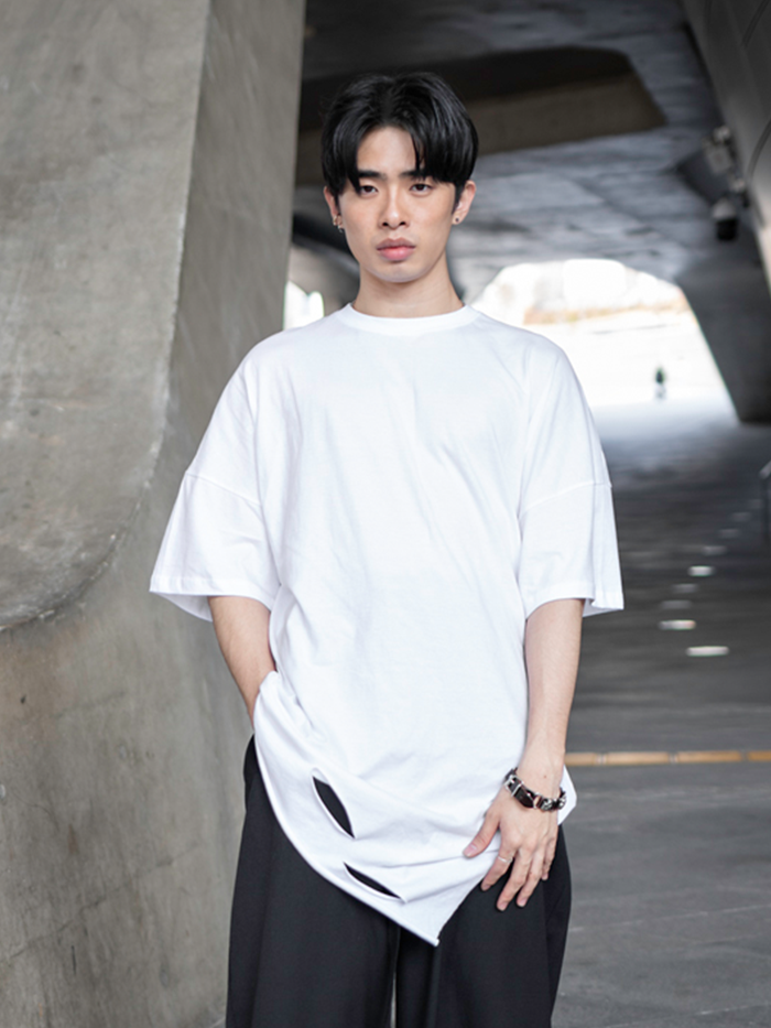 [UNISEX] Long tail short-sleeved T-shirt