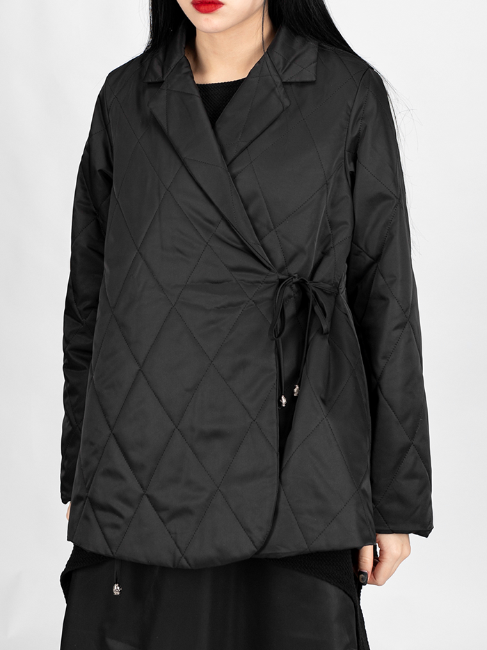 Quilted string collar Jacket