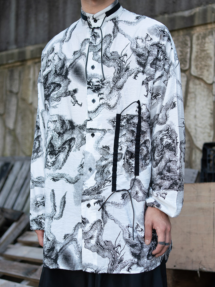 [UNISEX] Linen dragon long string Shirt