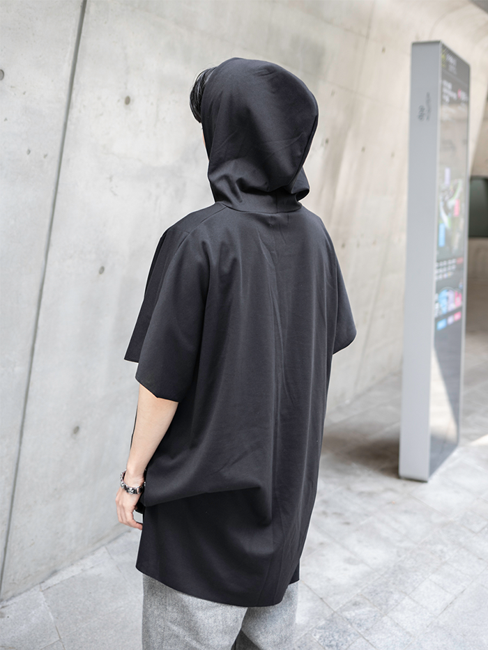 [UNISEX] Cape short-sleeved Hood