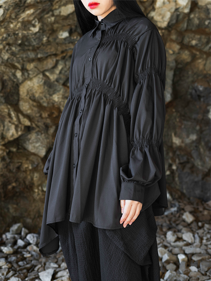Unbalance pleated Shirt